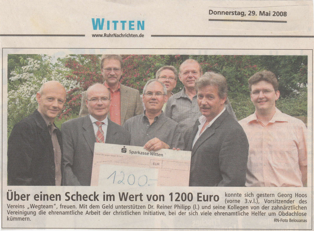 Wegteam e.V. - Über einen Scheck im Wert von 1200 Euro - RN 29.05.2008